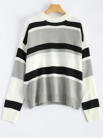 Outfit Color Block Striped Drop Shoulder Sweater BLACK ONE SIZE