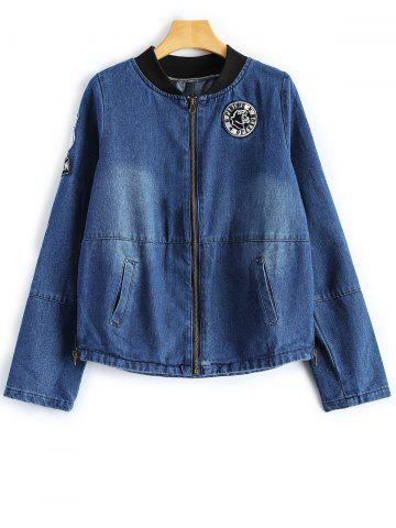 Hot Stand Neck Graphic Patched Denim Jacket