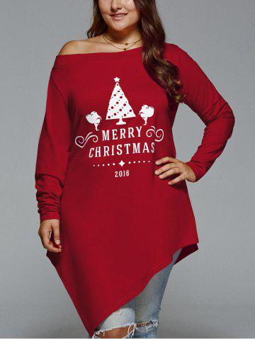 New Plus Size Merry Christmas Print Asymmetric Top - 2XL DEEP RED Mobile
