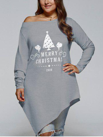 Plus Size Merry Christmas Print Asymmetric Top - Gray - 3xl