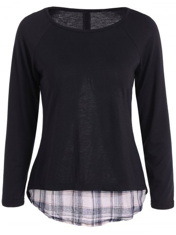 Latest Casual Long Sleeve Faux Twinset Plaid T-Shirt