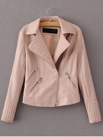 Trendy PU Fitting Zip-Up Motorcycle Jacket PINK L
