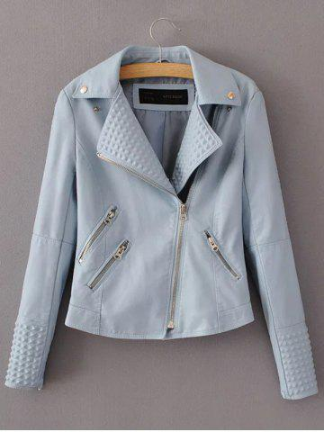Unique PU Fitting Zip-Up Motorcycle Jacket - L LIGHT BLUE Mobile