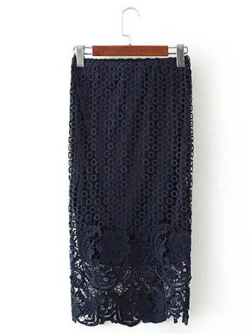 Fancy Embroidered Lace Bodycon Skirt CADETBLUE L