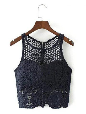Buy Cut Out Zippered Lace Tank Top