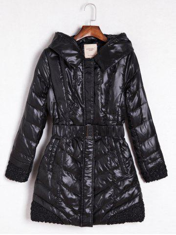 Latest Belted Hooded Quilted Coat BLACK XL
