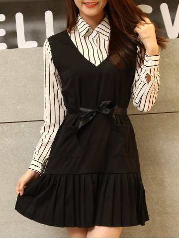 Striped Pleated Patchwork Dress