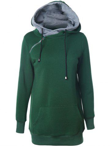 New Double-Hood Zippered Pocket Hoodie GREEN XL