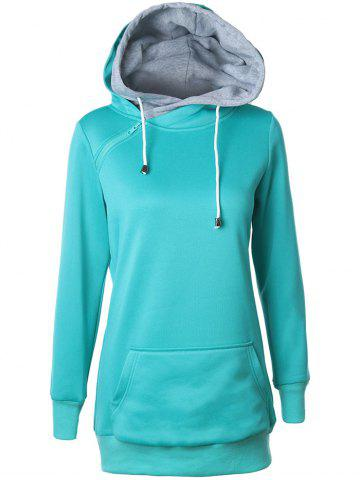 Double-Hood Zippered Pocket Hoodie - Lake Blue - M