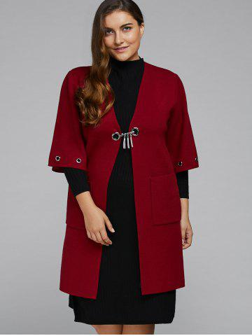 Chic Collarless Plus Size Coat with Pockets
