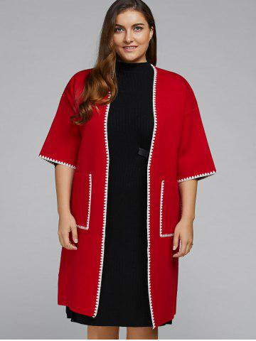 Trendy Open Front Plus Size Coat with Pocket
