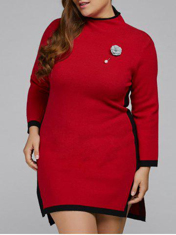 Unique Plus Size Sweater Dress with Brooch