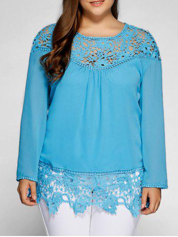 Lacework Splicing Plus Size Blouse - Lake Blue - Xl