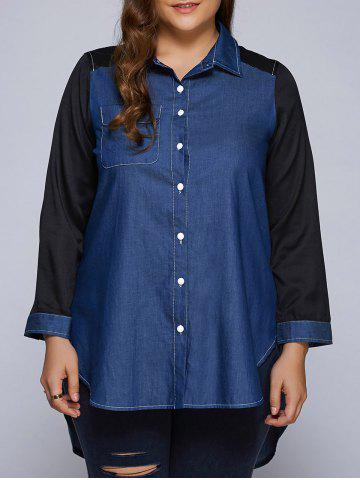 Hot Plus Size Patchwork High-Low Dark Denim Long Shirt BLUE 3XL