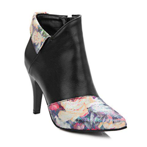 New Color Splicing Floral Print Pointed Toe Ankle Boots