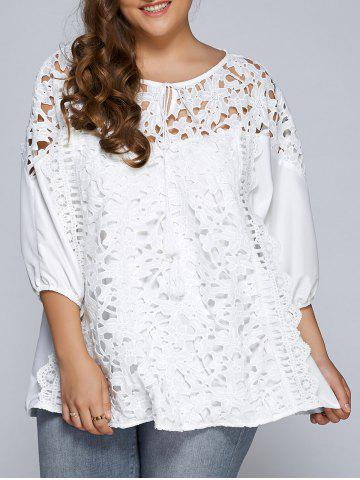 Latest Hollow Out Patchwork Plus Size Blouse WHITE 5XL