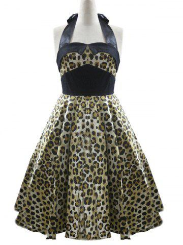 Fancy High Waisted Leopard Halter Swing A Line Dress