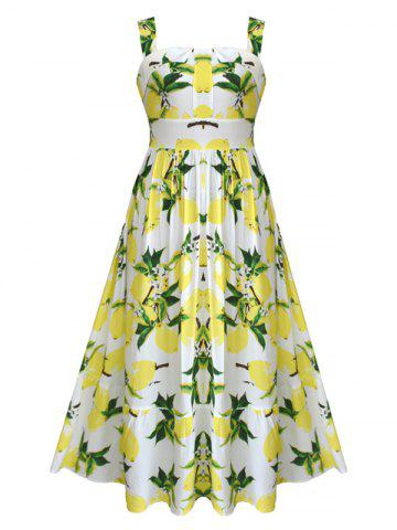 Latest Retro Lemon Print Maxi  Dress