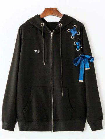 Shops Front Pocket Ribbon Lace Up Zipper Hoodie BLACK ONE SIZE