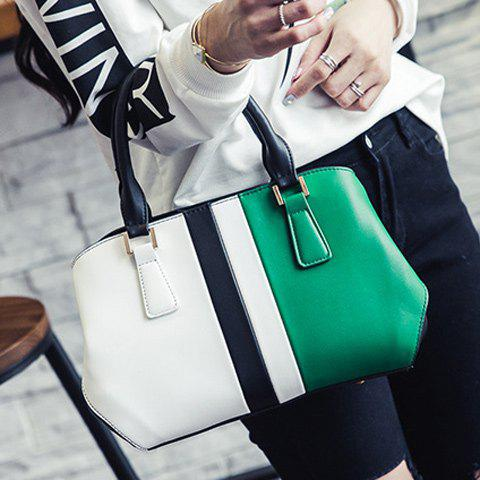 Affordable Colour Spliced PU Leather Metal Tote Bag