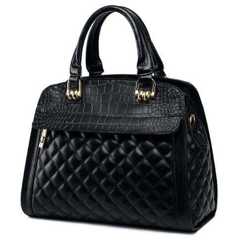 Store Quilted Argyle Pattern Embossed Tote Bag BLACK
