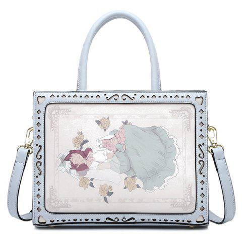 Latest Floral Print Engraving Colour Block Tote Bag