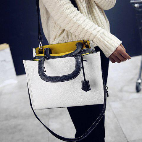Hot Lock Zipper Textured Leather Tote Bag