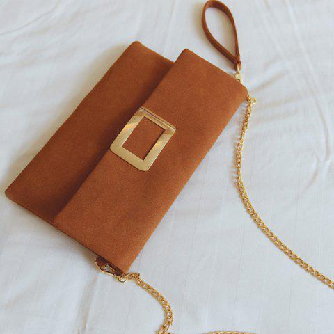 Shops Magnetic Closure Metal PU Leather Clutch Bag - LIGHT BROWN  Mobile