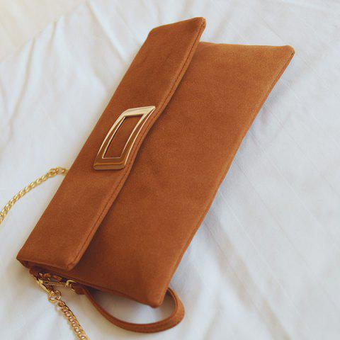 Latest Magnetic Closure Metal PU Leather Clutch Bag - LIGHT BROWN  Mobile