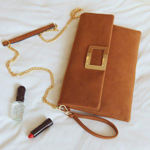 Buy Magnetic Closure Metal PU Leather Clutch Bag - LIGHT BROWN  Mobile