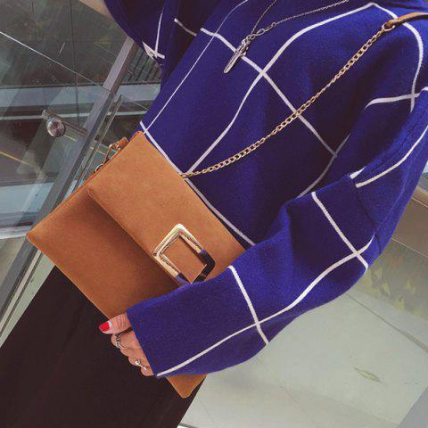 Outfit Magnetic Closure Metal PU Leather Clutch Bag - LIGHT BROWN  Mobile