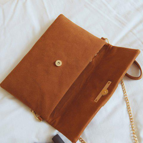 Chic Magnetic Closure Metal PU Leather Clutch Bag - LIGHT BROWN  Mobile