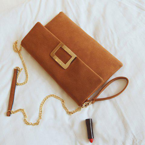 Hot Magnetic Closure Metal PU Leather Clutch Bag - LIGHT BROWN  Mobile