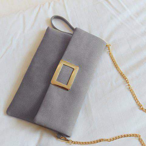 Hot Magnetic Closure Metal PU Leather Clutch Bag - GRAY  Mobile