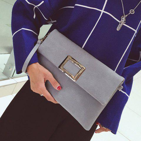 Chic Magnetic Closure Metal PU Leather Clutch Bag - GRAY  Mobile