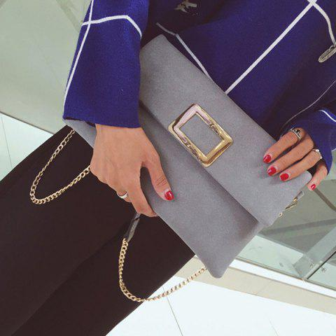 Buy Magnetic Closure Metal PU Leather Clutch Bag - GRAY  Mobile