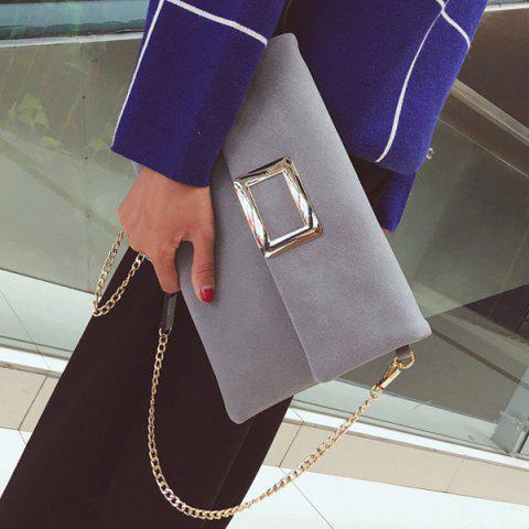 Latest Magnetic Closure Metal PU Leather Clutch Bag - GRAY  Mobile