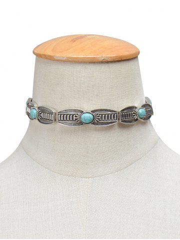 Vintage Faux Turquoise Engraved Necklace - SILVER