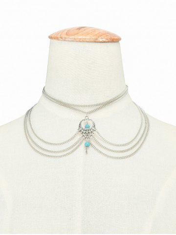 Online Bohemian Faux Turquoise Beads Necklace SILVER