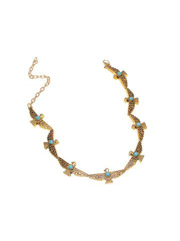 Affordable Faux Turquoise Peace Pigeon Choker Necklace GOLDEN