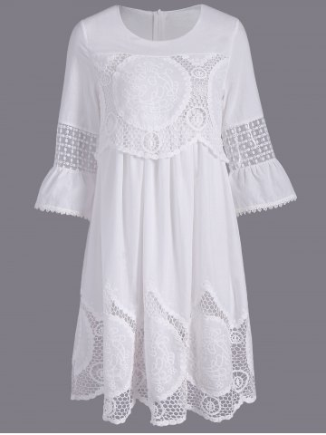Sale Fashionable Scoop Neck 3/4 Sleeve Lace Splicing Dress For Women - L WHITE Mobile