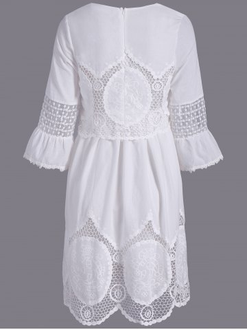 Chic Fashionable Scoop Neck 3/4 Sleeve Lace Splicing Dress For Women - L WHITE Mobile