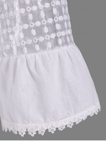 Shop Fashionable Scoop Neck 3/4 Sleeve Lace Splicing Dress For Women - L WHITE Mobile
