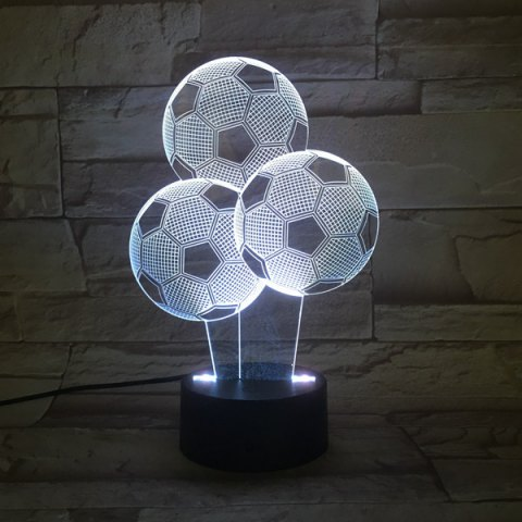 Colorful 3D Visual Stereo Three Football LED Bedroom Night Light - Colorful