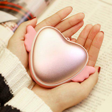 3500mAh Love Heart Shape Hand Warmer USB Mobile Power - Pink