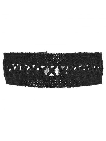 Discount Crochet Lace Criss Cross Choker Necklace BLACK