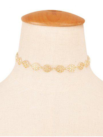 Unique Filigree Floral Rhinestone Choker Necklace CHAMPAGNE