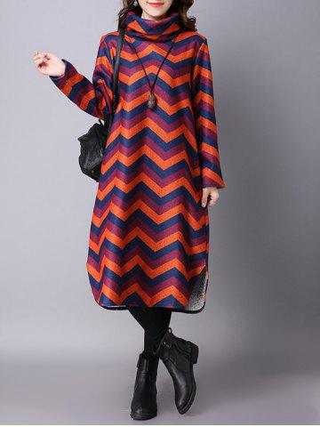 Thicken Wave Striped Printed Furcal Dress