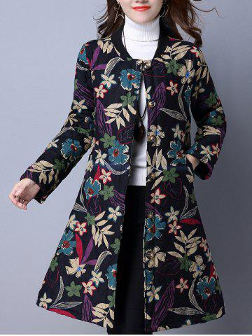 Shop Flower Print Buttoned Quilted Coat BLACK 2XL