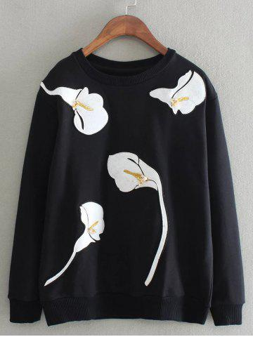 Cheap Embroidered Beading Sweatshirt BLACK ONE SIZE